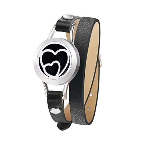 Leather Strap Diffuser Bracelet - Two Hearts